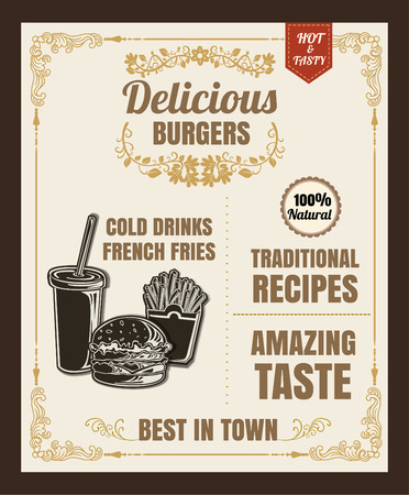 Restaurant Fast Foods menu burger vector format eps10