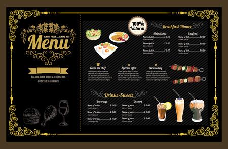 Restaurant Food Menu Vintage Design with Chalkboard Background vector format eps10 Ilustracja