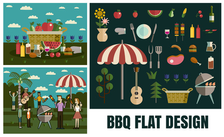 picnic basket: Barbecue party picnic, Vector flat illustrations and icon set format eps 10 Illustration