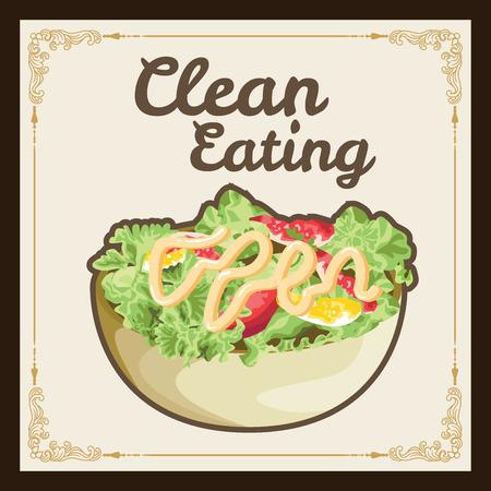 Clean eating salad poster,illustration or menu.Vector format eps10