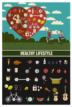 metrics: Man and woman Sports, running, healthy lifestyle,food ,Vector flat illustrations and icon set format eps 10