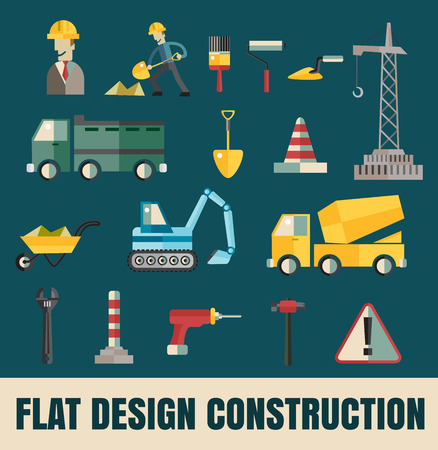 Vector color flat illustrations tools and materials for the repair and construction