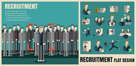 recruitment. picking the right candidate professional .Flat icons,flat design ,vector illustration concept set Vettoriali