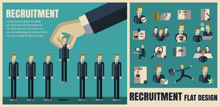 entrevista de trabajo: reclutamiento. escoger el candidato adecuado iconos profesionales .Flat, diseño plano, conjunto ilustración vectorial concepto