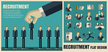 recruiting: recruitment. picking the right candidate professional .Flat icons,flat design ,vector illustration concept set Illustration
