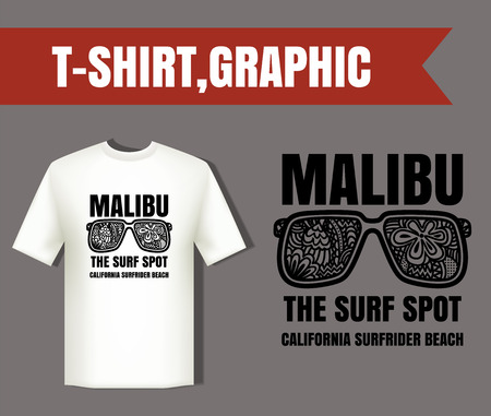 malibu: Malibu surf typography and glasses eye zentangle style; t-shirt graphics; vectors