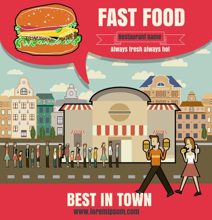 Brochure or poster Restaurant fast foods menu with people vector format eps10 Illustration