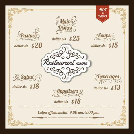 Restaurant Food Menu Design with vintage Background