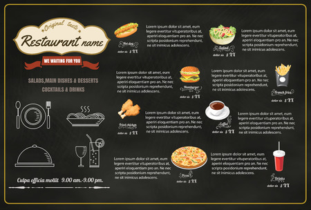 Restaurant Fast Foods menu op bord vector-formaat eps10 Stock Illustratie
