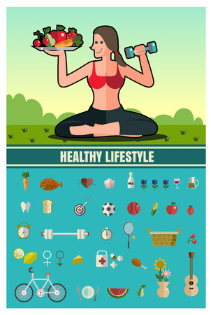 metrics: woman Sports, healthy lifestyle,food ,Vector flat illustrations and icon set format eps 10
