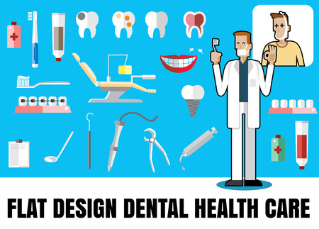 salud dental: Medical flat icon illustration with dental health care vector format eps 10