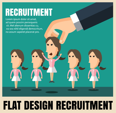 candidate: recruitment picking the right candidate professional  woman. Illustration