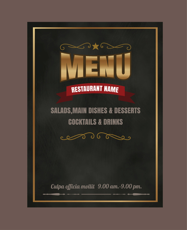 side menu: Restaurant Food menu on chalkboard  Illustration