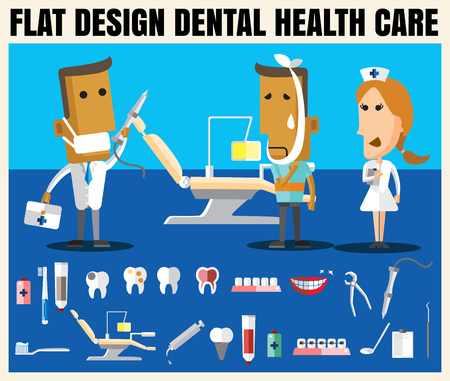 salud dental: Medical flat icon illustration with dental health care vector format