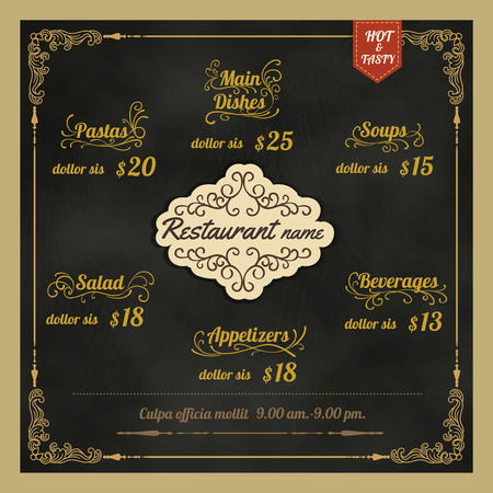 restaurant food: Restaurant Food Menu Design with vintage Background chalkboard