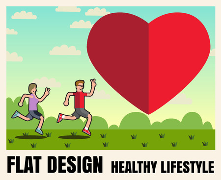 jogging park: Man and woman Sports, running, healthy lifestyle,food ,Vector flat icon illustrations  format Illustration