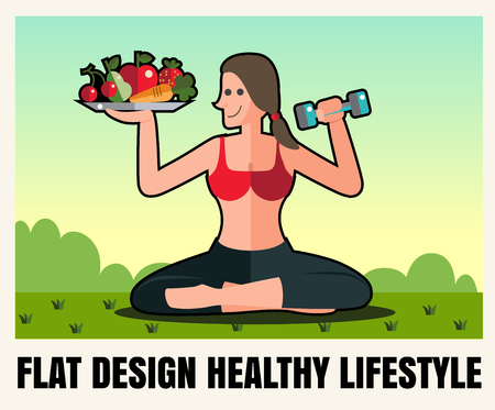 proper: woman Sports, healthy lifestyle,food ,Vector flat  icon  illustrations format