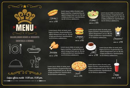 main idea: Restaurant Fast Foods menu on chalkboard vector forma