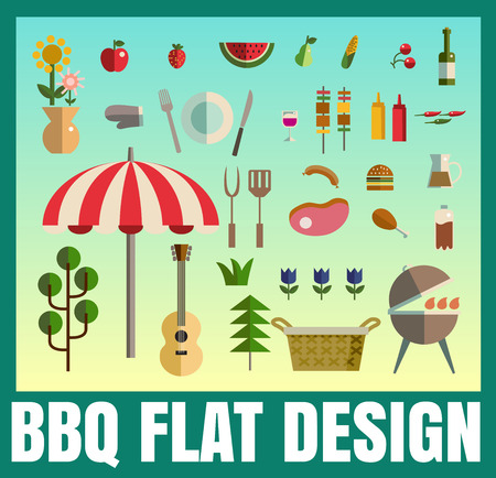 bbq ribs: Barbecue party picnic, Vector flat illustrations and icon set format eps 10 Illustration