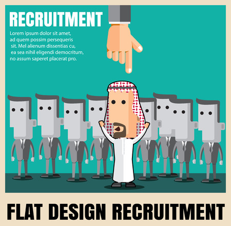 relaciones humanas: recruitment. picking the right candidate professional .Flat icons,flat design ,vector illustration concept set Vectores