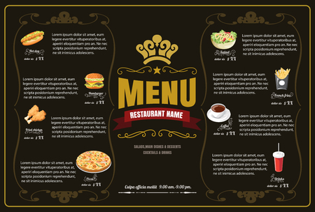 Restaurant Fast Foods menu on brown background vector format eps10