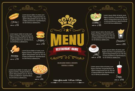 Restaurant Fast Foods menu on brown background vector format eps10