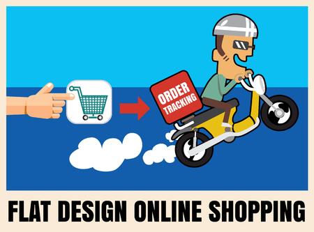 shipment tracking: flat icon illustration online shopping.Fast delivery concept vector format eps 10