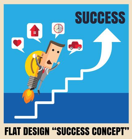 succes: Businessman with a rocket go to succes. Vector illustration   file.Idea go to success concept