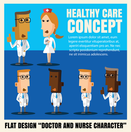 hospital cartoon: doctor and nurse character cartoon flat design vector format
