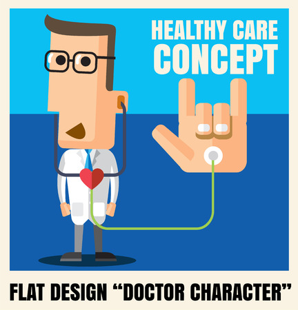 Medical doctor character flat design icon illustration vector format