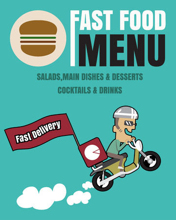 french board: Brochure or poster Restaurant fast foods menu with people fast delivery vector format