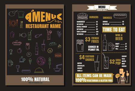 Brochure or poster Restaurant fast foods burger menu with people vector format