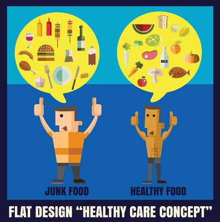 Alimentación sana y la comida chatarra, carácter ilustración diseño plano Foto de archivo - 46085677