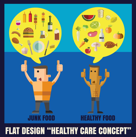 healthy food and junk food ,character flat design illustration