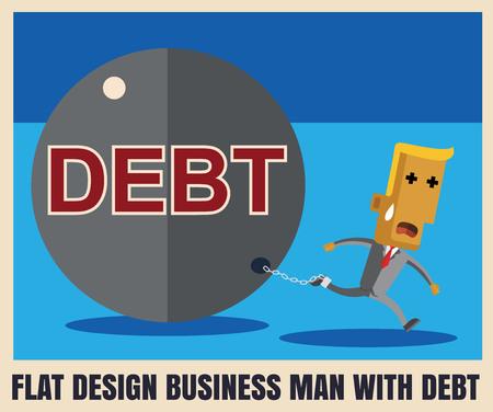 burden: Business man burden with Debt illustration business vector file eps10