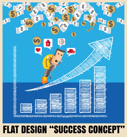 succes: Businessman with a rocket go to succes charting a positive trend graph. Vector illustration Eps10 file.Idea go to success concept Illustration