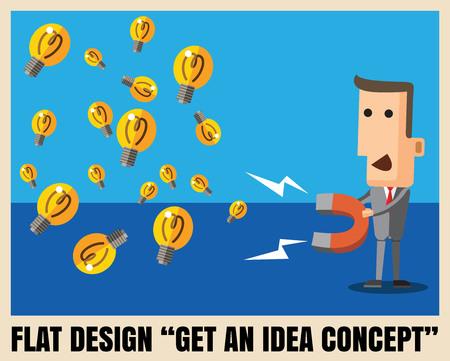businessman with  magnet collecting light bulb , eps10 vector file illustration Illustration