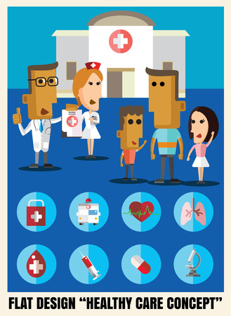 doctor symbol: doctor and patiant flat icon illustrationl healthy care vector format eps 10