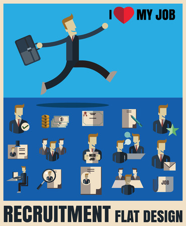 Reclutamento. raccogliendo le icone .Flat professionali candidato giusto, design piatto, illustrazione vettoriale concetto di set Archivio Fotografico - 46085733