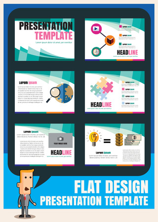 set of infographic presentation template flat design element set for brochure flyer marketing and advertising.Vector layout design illustration Ilustracja