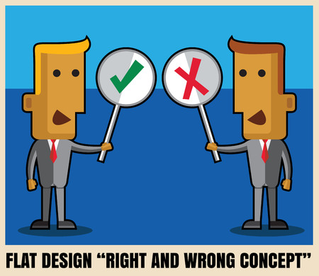 true or false: Two businessmen holding Right and Wrong Sign