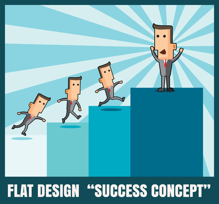 going up: Businessman going up to top step of stairs.success concept Illustration