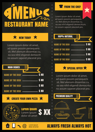 menu: Brochure or poster Restaurant  food menu with Chalkboard Background vector format eps10 Illustration