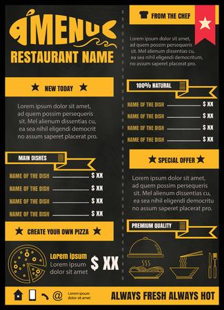 postres: Folleto o cartel del men� del restaurante de comida con el fondo de la pizarra formato vectorial eps10