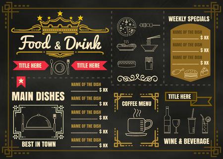 perro caliente: Diseño del menú del restaurante de Alimentos con el fondo de la pizarra Vectores