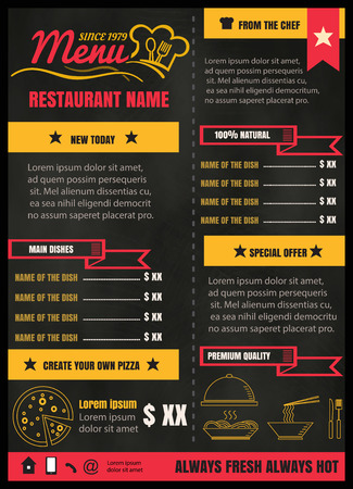 Brochure or poster Restaurant  food menu with Chalkboard Background vector format eps10 Illustration