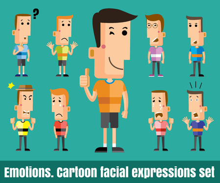 Illustration of  cute boy faces showing different emotions flat design vector format  Ilustracja