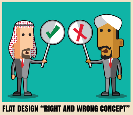 Two arab businessmen holding right and wrong  Flat icon design illustration