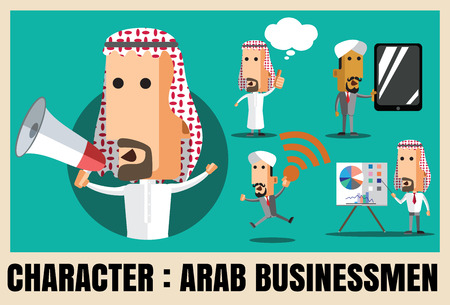 arab adult: Charactor of arab businessmen