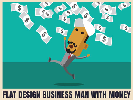 money rain: Business arabman successful entrepreneur. money rain. successful businessman. Money from the sky. vector illustration